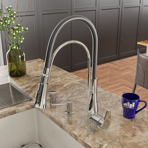 Polished Chrome Kitchen Faucet with Black Rubber Stem