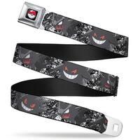 Pok Ball Full Color Black Gengar 4 Poses Splatter White Grays Red Webbing Seatbelt Belt
