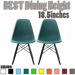 2xhome - Set of 2, Teal Plastic Chair Silver Wire Base Dining - N/A