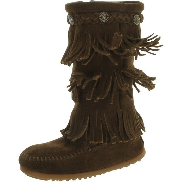 Minnetonka 3-Layer Fringe Bootie - Dusty Brown