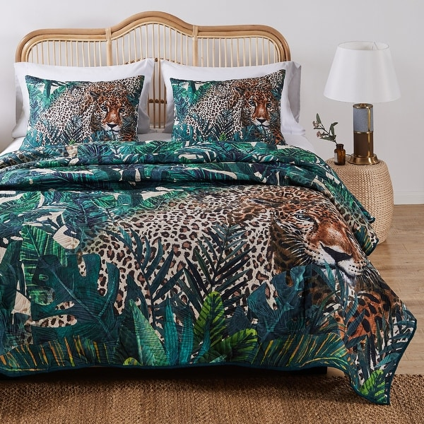 Barefoot Bungalow Jungle Cat Quilt and Pillow Sham Set. Opens flyout.