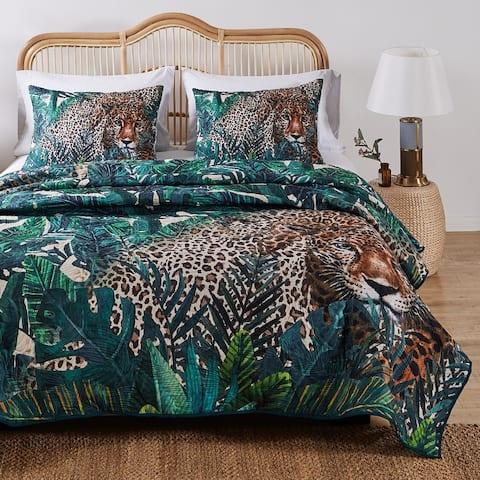 Barefoot Bungalow Jungle Cat Quilt and Pillow Sham Set