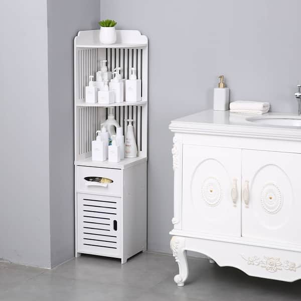 Shop Household Simple Bathroom Corner Shelf Storage Cabinet Organizer Overstock 31970523