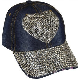 Heart Sparkling Bedazzled Studded Baseball Cap Hat, Denim, Dark Blue
