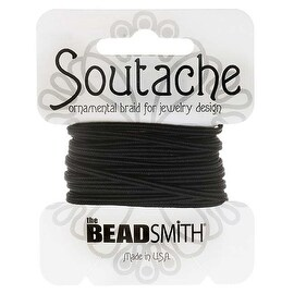 BeadSmith Soutache Braided Cord 3mm Wide - Black (3 Yard Card)