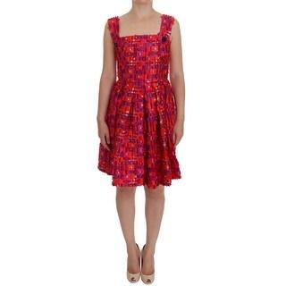 Dolce & Gabbana Dolce & Gabbana Pink Patterned A-line Above Knees Dress - it40-s