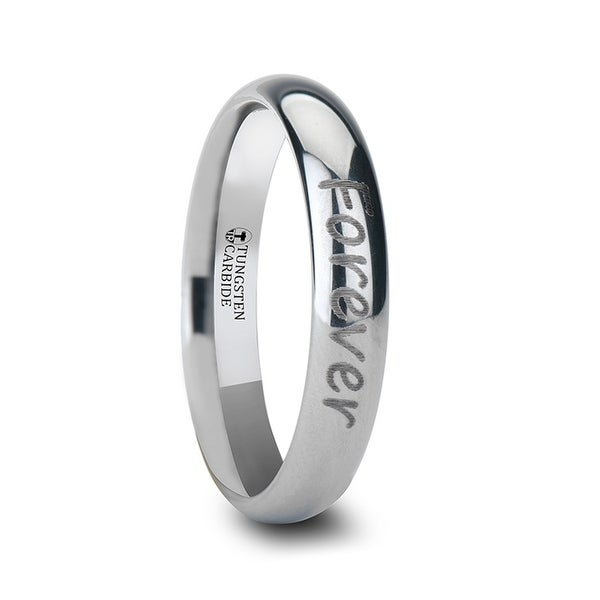 THORSTEN - Handwritten Engraved Domed Tungsten Ring Polished- 4mm