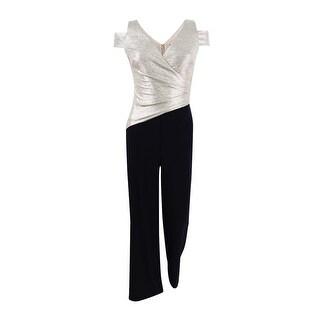 Lauren by Ralph Lauren Women's Cold-Shoulder Two-Tone Jumpsuit - Black/gold