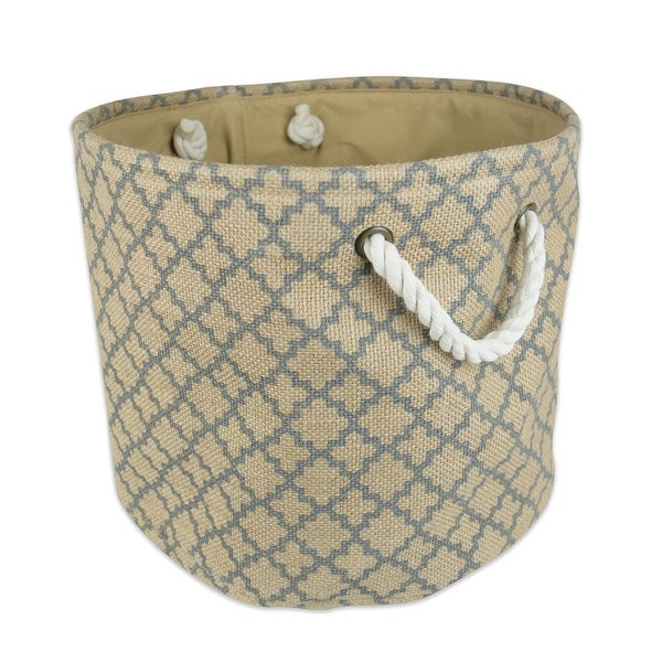 "16"" Brown and Gray Lattice Burlap Round Large Bin with Rope Handles - N/A"
