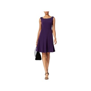 Connected Apparel Womens Petites Cocktail Dress Matte Jersey Embellished