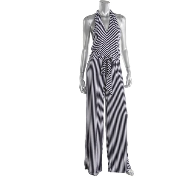8a8bb109e58b Shop Lauren Ralph Lauren Womens Jumpsuit Matte Jersey Striped - Free ...