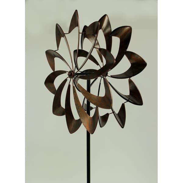 Metallic Brown Metal Art Spinning Pinwheel Wind Catcher Garden Stake