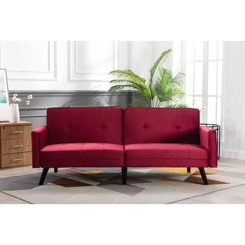 Velvet Upholstered Convertible Loveseats Sleeper Sofa With Wood Legs