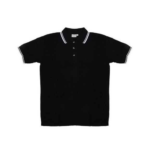 Men's Black Knit Pullover Golf Polo Shirt - Large