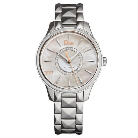 Christian Dior Women's CD153512M001 'Montaigne' Mother of Pearl Diamond Dial Stainless Steel Swiss Automatic Watch