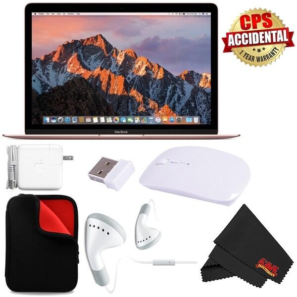 """Apple 12"""" MacBook (Mid 2017 Rose Gold) 256GB SSD (MNYM2LL/A) + MicroFiber Cloth + 2.4 GHz Slim Optical Wireless Bluetooth Bundle"""