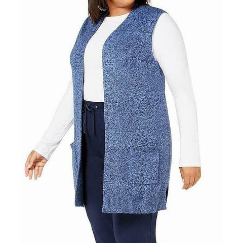 Karen Scott Women's Sweater Navy Blue Size 2X Plus Vest Marled Knit