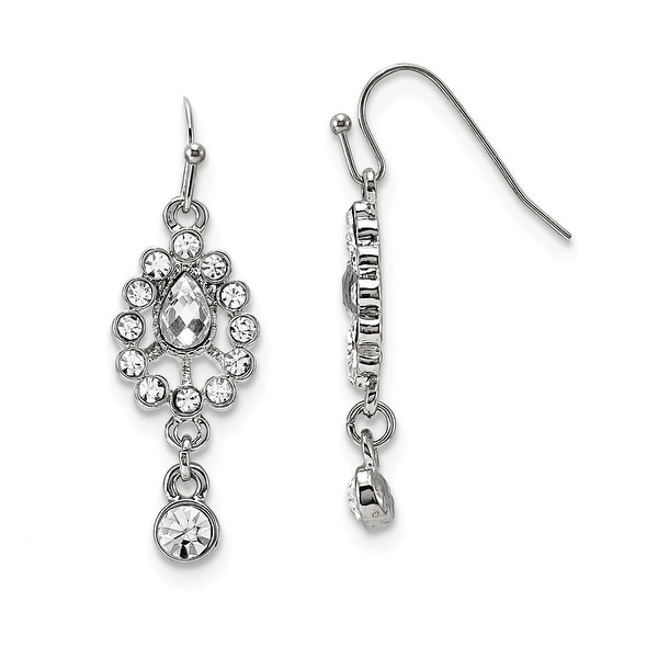 424ac5ead Shop Silvertone White Crystal Dangle Leverback Earrings - Free Shipping On Orders  Over $45 - Overstock - 11644930