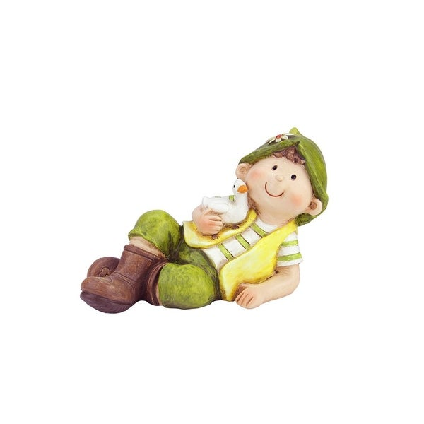 "7.5"" Young Boy Gnome Laying with Duck Spring Outdoor Garden Patio Figure"