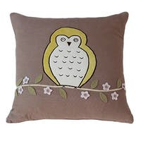 Vivai Home Taupe Floral Bird Hoot Hoot Square 16x 16 Feather Cotton Pillow - TAN