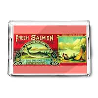 Naha Bay Salmon Can - Vintage Label (Acrylic Serving Tray)