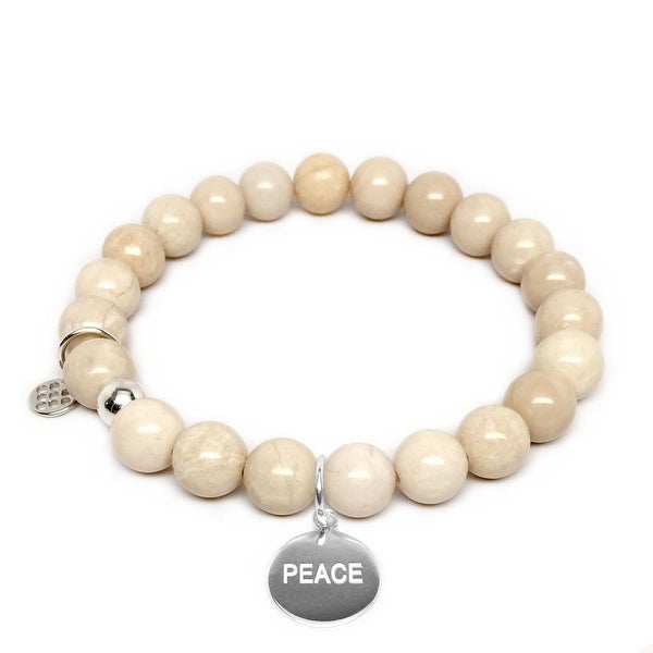 "Ivory Jade Peace Silver Charm Lucy 7"" Bracelet"