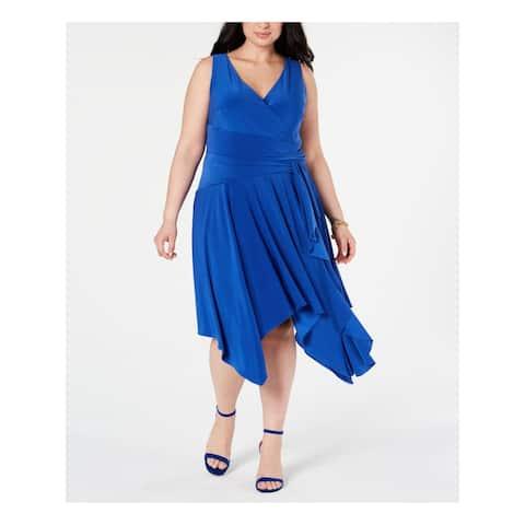 TAYLOR Womens Blue Sleeveless Midi Sheath Cocktail Dress Size 16W