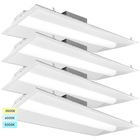 2x4 Center Basket LED Troffer 30/40/50W 3 Color Selectable 3500K/4000K/5000K Dimmable Drop Ceiling Damp Rated 4 Pack