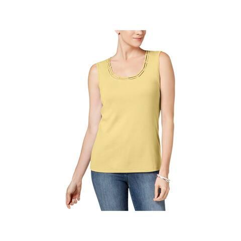Karen Scott Womens Tank Top Embellished Sleeveless