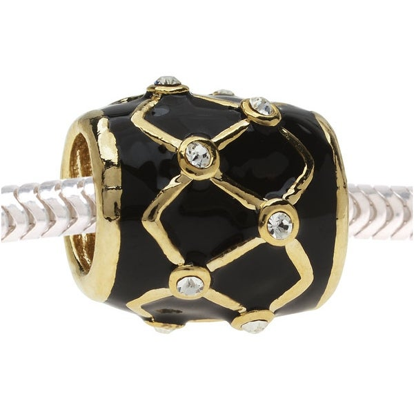 European Style Large Hole Bead, Woven Barrel with Crystals 13x12.5mm, Gold with Black Enamel