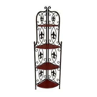 Decorative Brown 4 Shelf Fleur De Lis Metal Corner Rack 59 In.