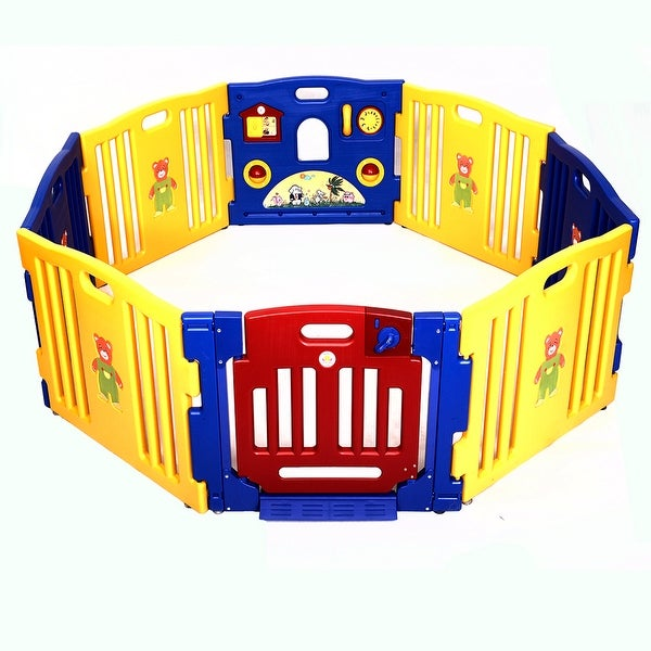 Costway Baby Playpen Kids 8 Panel Safety Play Center Yard Home Indoor Outdoor Pen - Yellow