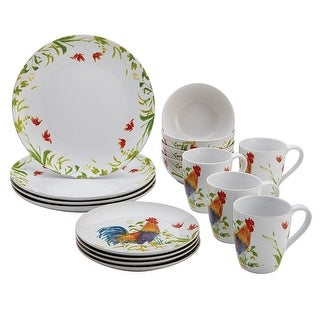 BonJour 54135 16-Piece Dinnerware Meadow Rooster Stoneware Set - White