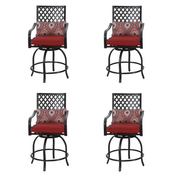 PHI VILLA Outdoor Swivel Metal Cushioned Bar Height Patio Chairs. Opens flyout.