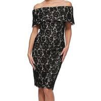 Eliza J Black Women's Size 6 Off-Shoulder Lace Sheath Dress