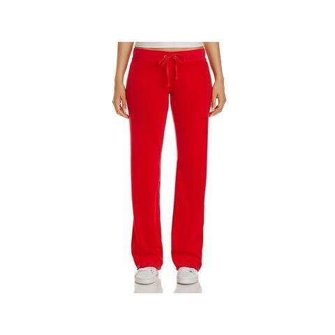 ff338ead323 Juicy Couture Black Label Womens Mar Vista Track Pants Velour Straight Leg