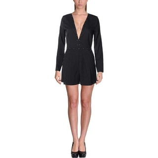 Lucy Paris Womens Romper Studded V Neck