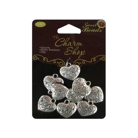 Sweet Beads Charm Shop Mtl Heart Silver 9pc