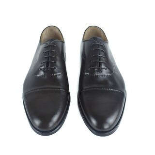 Sutor Mantellassi Men Black Leather Detailed Oxfords Dress Shoes