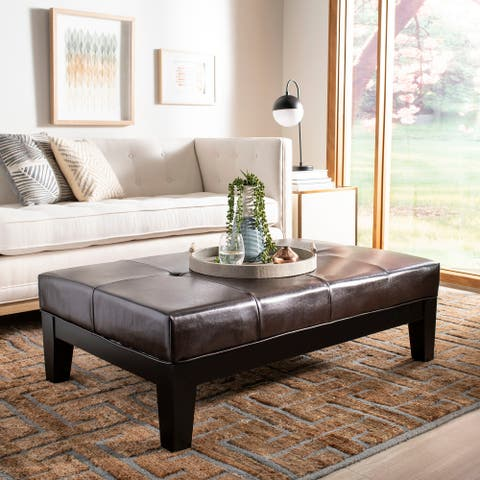 Safavieh Brown Solid Wood Cocktail Ottoman