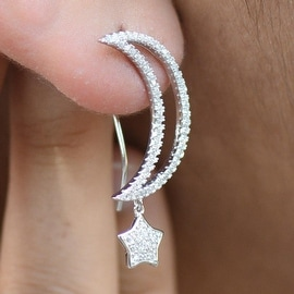 Womens Moon Star Earrings Iced Out Lab Diamonds 925 Sterling Silver