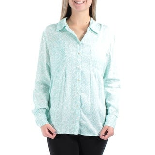 Womens Green DISTRESSED DOT Cuffed Collared Casual Button Up Top Size M