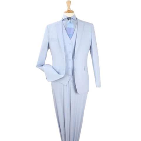 Mens 3 Pc Modern Fit Poly Rayon Vested Blue Suit Flat Front Pants - Light Blue Suit By Alberto Nardoni Brand Designer
