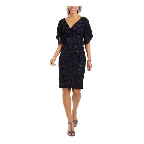 CONNECTED APPAREL Black Short Sleeve Knee Length Dress 10