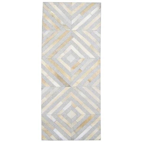 """One of a Kind Hand-Woven Modern & Contemporary 6' Runner Diamond Leather Grey Rug - 2'5""""x5'8"""""""