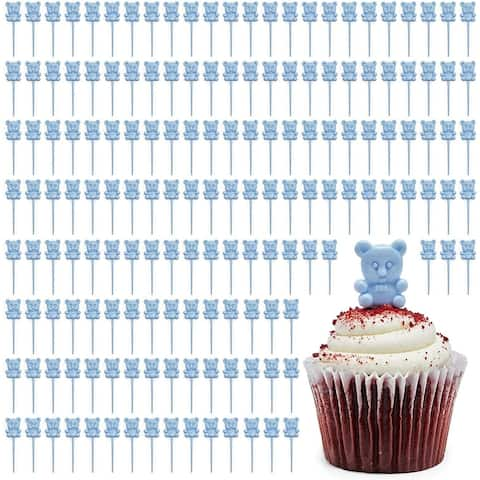 Bear Cupcake Toppers, Baby Shower Decorations (Blue, 100-Pack) - Blue