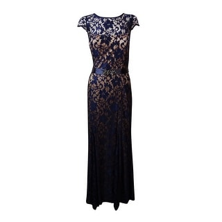 Betsy & Adam Woman's Illusion Lace Belted Dress - 8
