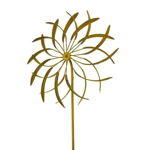 18 in. Metal Garden Stake Flower Wind Spinner Sculpture - 62 X 18 X 18 inches