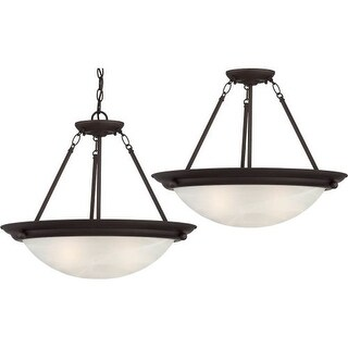 "Volume Lighting V6973 Lunar 3 Light 18.75"" Height Semi-Flush Ceiling Fixture wit"