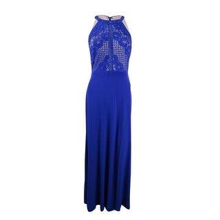 Shop Nightway Womens Lace Halter Gown 10 Royalnude Royalnude